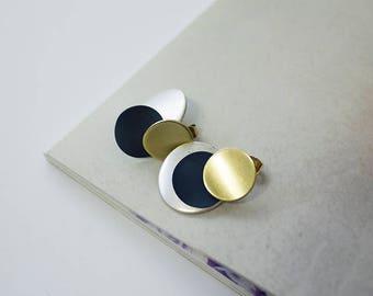 Matte circle 3 drop earrings