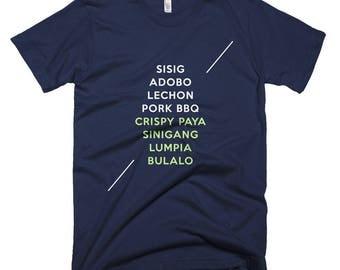 Sisig Adobo Lechon Pork Bbq Crispy Paya Sinigang Lumpia Bulalo Short-Sleeve T-Shirt