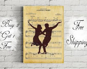 La La Land A Lovely Night Music Art Metal Print-La La Land Music Poster-Mia and Sebastian Art-La La Land Gift-Gift for Him-Gift for Couple