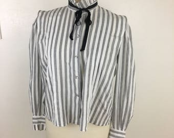Women's Vintage Pleated Stripe Blouse- Large