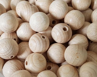 18mm 10pcs+ Natural wooden beads, Unfinished wooden beads, Wooden spacer beads, Round wooden beads, Ecological wood, Wholesale BestDealBeads