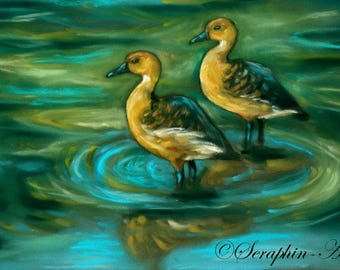 Wildlife Ducks Original Pastel Painting