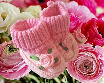 Crochet Baby Booties - Baby Booties Crochet - Baby Girl Booties - Baby Shoes - Baby Shower Gift - Pink - Newborn Baby - Knitted booties