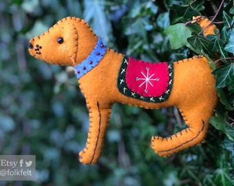 "8"" hand stitched yellow dog Christmas Handcrafted felt Christmas tree decoration / felt hanging ornament chic felt / primitive decoration"