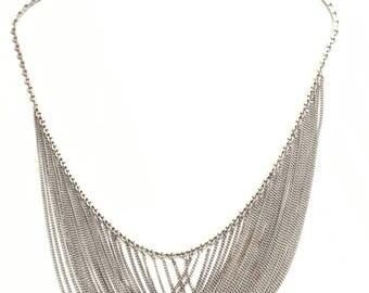 Spirit Cardin Vintage 1960's Silver Mesh Necklace silver chain necklace