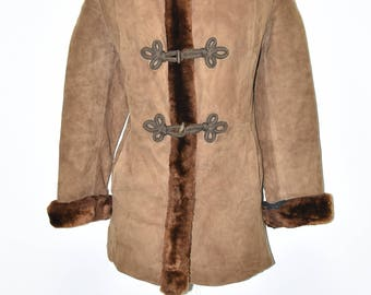 Vintage Brown Leather JOSEF WORMLAND Fitted Faux Fur Hips Length Coat Size L