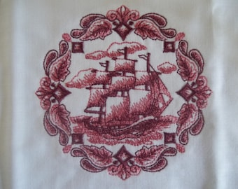 Ten Burgundy Medallions Embroidered Quilt Squares