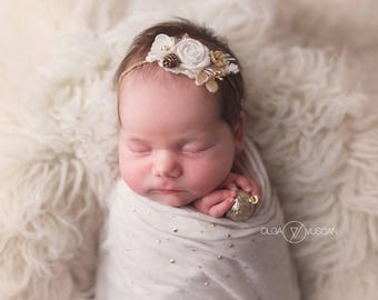 Ivory headband, Elastic crocheted headband, Newborn headband, Christmas accessories, Photo prop accessories.
