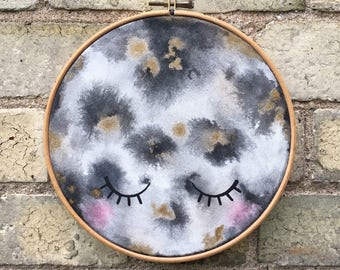 Mr Moon Face Decor Hoop Art Wall Hanging