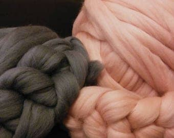 SALE! Merino Wool Chunky Thick Giant Yarn Tops Roving DIY Wet Needle Felting Hand Knitting Throw Blanket Scarf. Free Shipping!