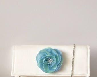 Ivory silk clutch bag . Bridal clutch bag . Bridesmaid clutch . Mint green and blue clutch .
