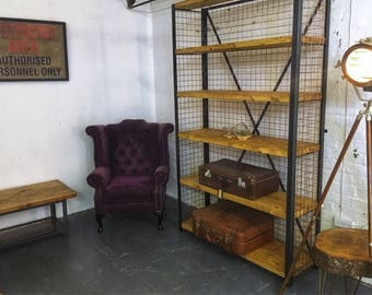 Huge industrial copper wood metal bookcase totally unique and handmade furniture custom available