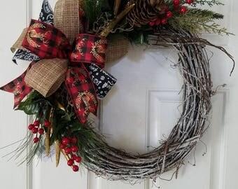Deer Antler Grapevine Wreath, Grapevine Wreath, Home Decor, Christmas Wreath, Front Door Wreath, Holiday Decorations