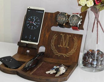 vday gifts for boyfriend vday gifts for guys vday gift for men vday gifts for him gifts for men gifts for husband  Wood Docking Station Men