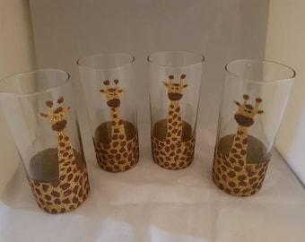 Giraffe glitter glasses, giraffes, giraffe glasses, glitter glasses, half pint glass, hi ball glasses, birthday gift, mothers day, tableware