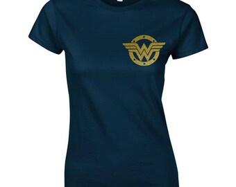 WonderWoman Badge TShirt Gold Glitter Sparkles print