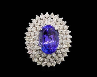 Oval Tanzanite and Diamond White Gold Ring