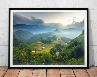 Mountain Sunset Photo // Sa Pa Vietnam Landscape Photography, Asia Nature Print, Asian Wall Art, Mountainscape Home Decor, Muong Hoa Valley