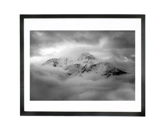 Wall Art, black and white photograph of the Pointe Des Couloureuses II in the French alps - Print