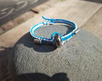 Turquoise and white hemp silver charm bracelet