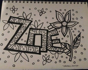 Name coloring poster, Zoe, flower, decoration, child's room