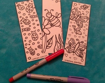 Bookmark coloring, bookmark, coloring, kids, flower, butterfly