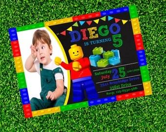 Lego Invitation, Lego Birthday Invitation, Lego Party, Lego Printable, Lego Movie