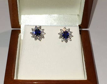 18ct uk hallmarked sapphire and diamond stud earrings