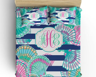 Seashell Stripe BEDDING Comforter- DUVET COVER, Seashell Pillowcase -Aqua Pink Lilly Pattern, Toddler Twin Queen King-Monogram Bedding Set