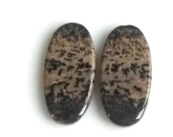 Honey Dendritic Oval Pair Cabochon,Size- 25x12 MM, Natural Honey Dendritic, AAA,Quality  Loose Gemstone, Smooth Cabochons.