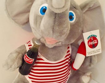 Vintage Coca Cola COKE Elephant Plush w/ Posable Ears 1993 *NEW*