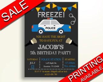 Police Birthday Invitation Police Birthday Party Invitation Police Birthday Party Police Invitation Boy policeman decoration BCE6A