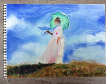 Woman with a parasol (painting-remake of Monet)