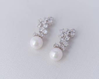 Pearl Dangle Cubic Zirconia Earrings, Pearl Wedding Jewellery, Pearl Bridal Jewelry, Pearl Bride Earrings, Pearl Drop Earrings, CZ Earrings