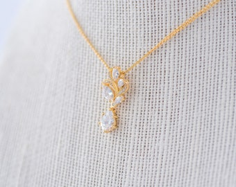 Aya Cubic Zirconia Necklace - Gold, CZ Bridal Necklace, Wedding Pendant Necklace, Crystal, Bridesmaid Necklace, Dainty Gold Necklace
