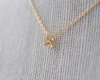 Pave Knot Pendant Necklace - Gold, Gold CZ Necklace, Bridal Necklace, Wedding Necklace, Crystal Gold Necklace, Dainty Teardrop Necklace