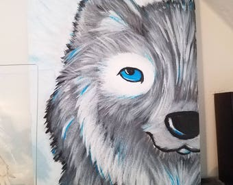 Hand painted wolf