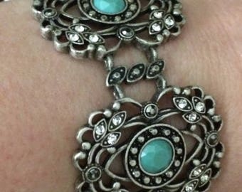 Silver Bracelet with Turquoise and Rhinestones