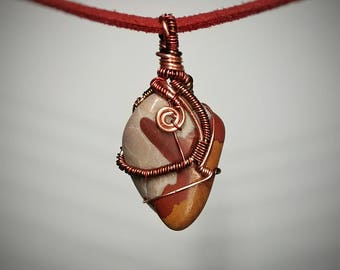 Noreena Jasper Pendant - Handmade Wire Wrapped Necklace - Orange Red and Pink Blue Layers - Unique Spiral Wire Design - Small Stone Jewelry