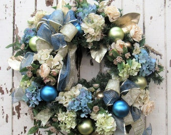Ready to Ship - Cream and Dusty Blue Hydrangea, Cream Garden Roses,  Light Green and Blue Balls, Gold Bow and Blue Sheer Dot Bow
