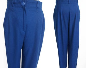 Vintage Blue Wool Trousers High Waisted Pants