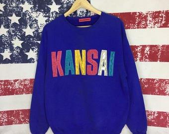 Vintage KANSAI Sweater // Vintage KANSAI Pullover Sweatshirt // KANSAI Spell Out Sweatshirt // Kansai Big Logo // Size Large