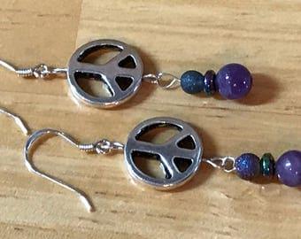 Silver Peace Sign Amethyst Dangle Earrings, February birthstone, Purple Earrings, Boho earrings, Hippie jewelry , festival jewelry