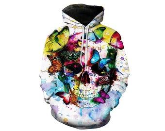 Skull Hoodie, Skull, Skull Hoodies, Skull Prints, Scalp Hoodie, Gothic, Skeleton, Skulls, Scalp, Hoodie, 3d Hoodie, 3d Hoodies - Style 12