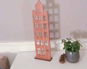 Bamboo Wood Amsterdam Canal House, home decor, handcrafted gift, unique design, ideas for dad, gifts for him, free shipping