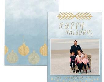 Gray ombré gold modern holiday Christmas card template digital