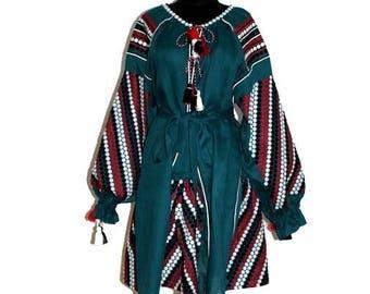 Embroidered dress Boho Style Kilim Emerald Green Vyshyvanka Mini Bohemian Linen Ukrainian Dresses Custom Ethno Outfit Folk Embroidery