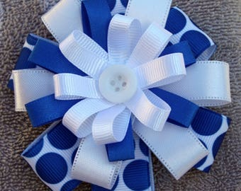 Blue and White Hair Bow. Infant Toddler Girl Hair Bow.