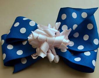 Blue and White Hair Bow, White Korker Bow, Alligator Clip