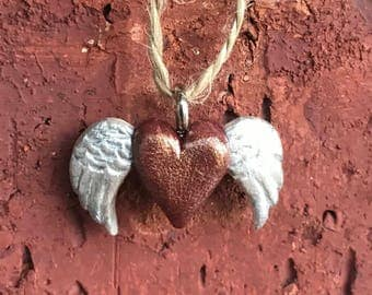Heart with Angel Wings Pendant